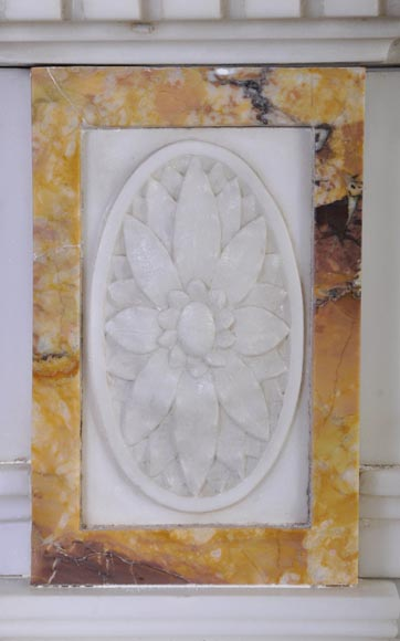 Beautiful antique Neo-Classical fireplace in Statuary Carrara marble and yellow Brocatelle from Sienna inlays-3