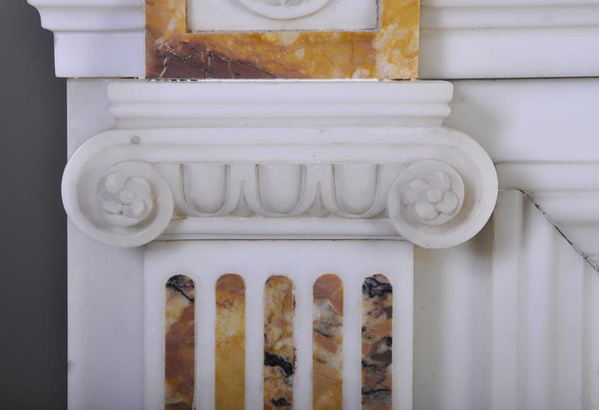 Beautiful antique Neo-Classical fireplace in Statuary Carrara marble and yellow Brocatelle from Sienna inlays-4
