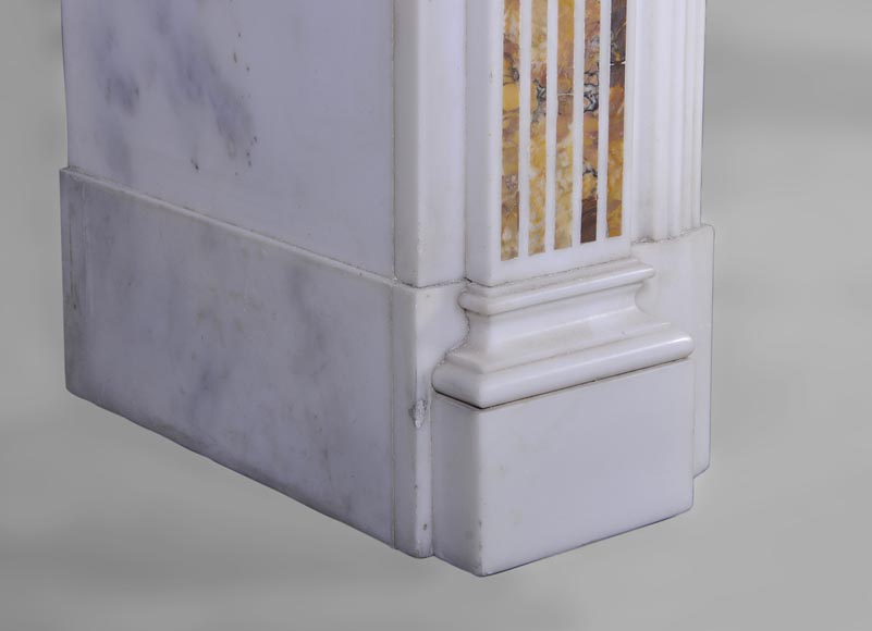 Beautiful antique Neo-Classical fireplace in Statuary Carrara marble and yellow Brocatelle from Sienna inlays-5