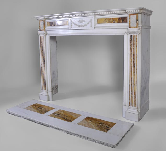 Beautiful antique Neo-Classical fireplace in Statuary Carrara marble and yellow Brocatelle from Sienna inlays-6