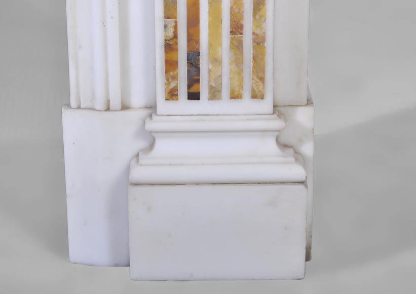 Beautiful antique Neo-Classical fireplace in Statuary Carrara marble and yellow Brocatelle from Sienna inlays-8