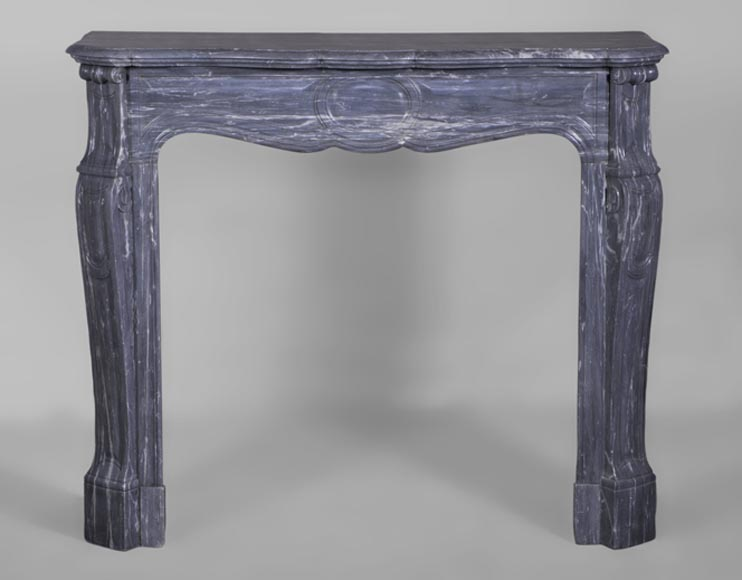 Antique Louis XV style fireplace, Pompadour model, in Blue Turquin marble - Reference 3071