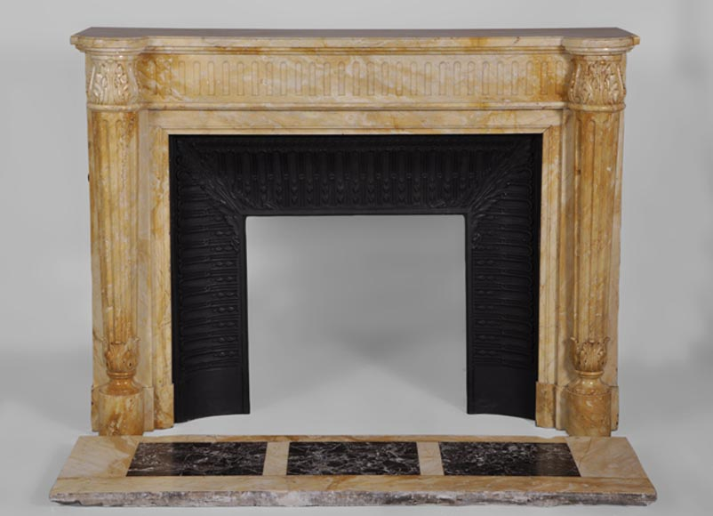 Beautiful antique Louis XVI style fireplace in Yellow from Siena marble with half-columns-0