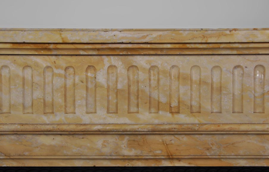Beautiful antique Louis XVI style fireplace in Yellow from Siena marble with half-columns-1
