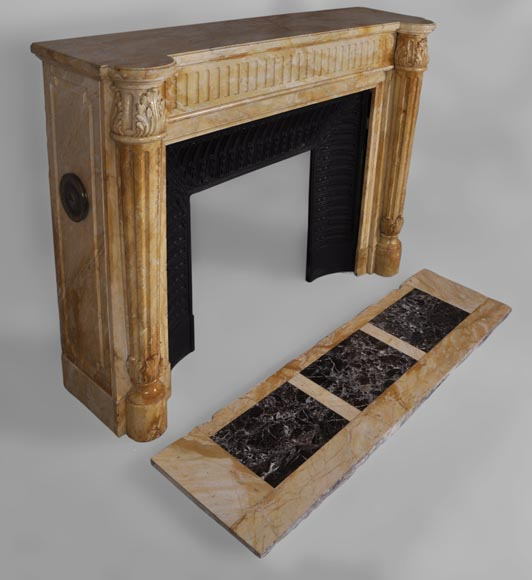 Beautiful antique Louis XVI style fireplace in Yellow from Siena marble with half-columns-2