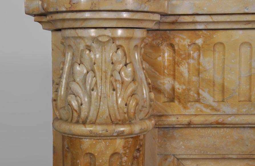 Beautiful antique Louis XVI style fireplace in Yellow from Siena marble with half-columns-3