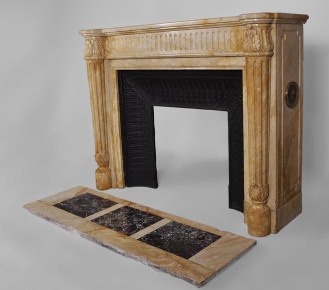 Beautiful antique Louis XVI style fireplace in Yellow from Siena marble with half-columns-5