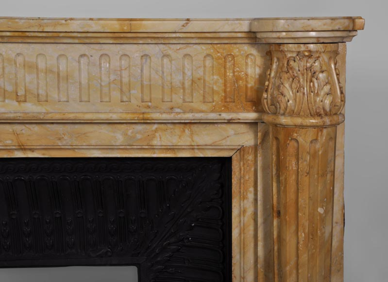 Beautiful antique Louis XVI style fireplace in Yellow from Siena marble with half-columns-6