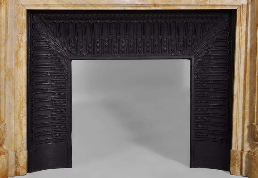 Beautiful antique Louis XVI style fireplace in Yellow from Siena marble with half-columns-8