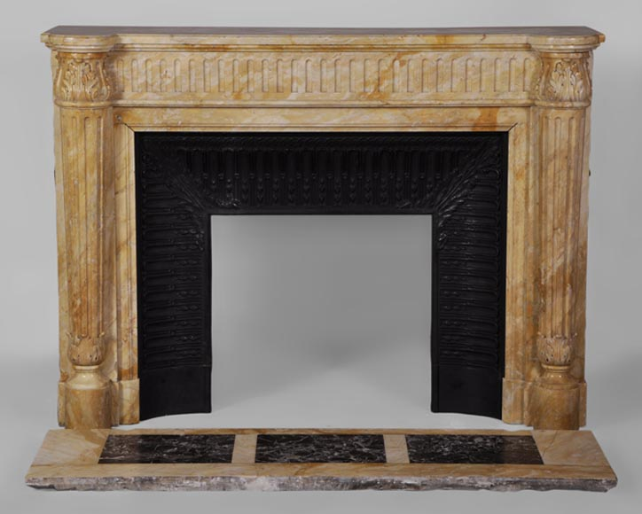 Beautiful antique Louis XVI style fireplace in Yellow from Siena marble with half-columns - Reference 3077