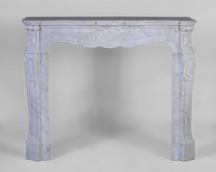 "Antique Louis XV style fireplace, ""Pompadour"" model, made in white Carrara marble, 19th c. - Reference 3079"