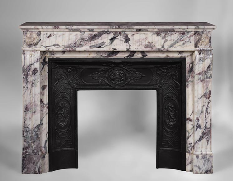Antique Louis XVI style fireplace with flutings decor in Breche Violette marble - Reference 3083