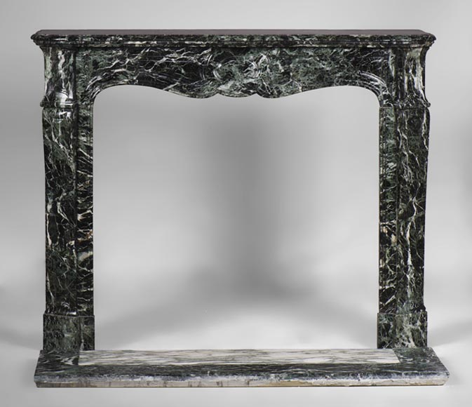 Antique Pompadour fireplace, Louis XV style, in Sea Green marble, 19th century - Reference 3090