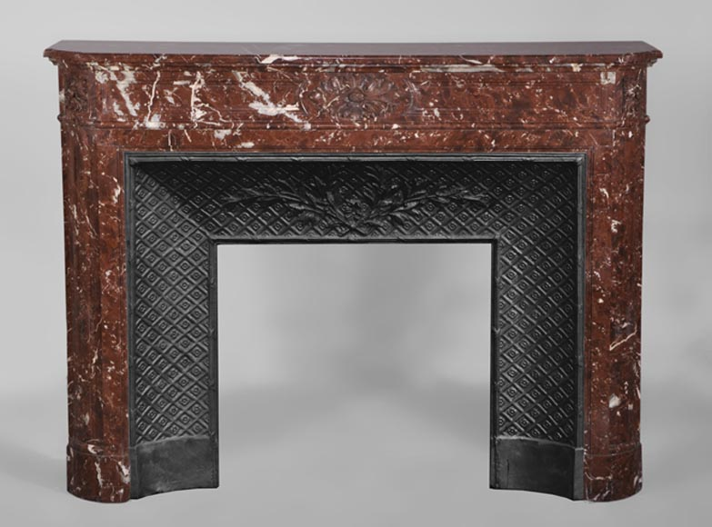 Antique Louis XVI style fireplace with rounded corners in Red Griotte marble from Belgium-0
