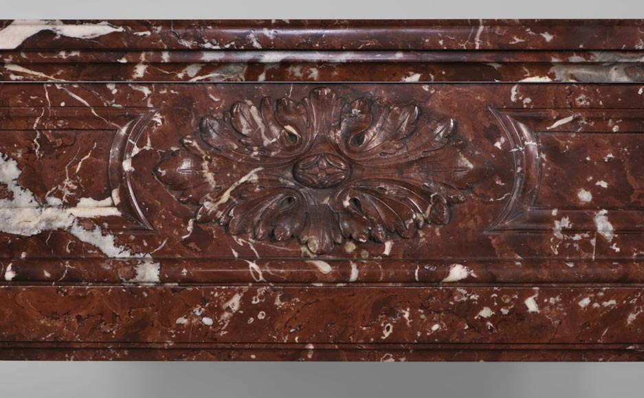 Antique Louis XVI style fireplace with rounded corners in Red Griotte marble from Belgium-1