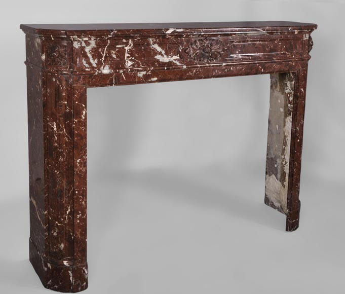 Antique Louis XVI style fireplace with rounded corners in Red Griotte marble from Belgium-2
