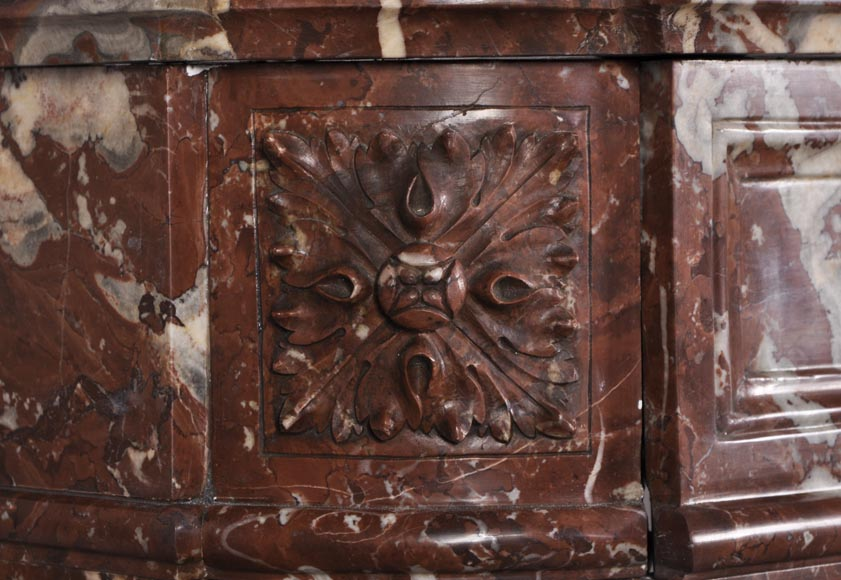 Antique Louis XVI style fireplace with rounded corners in Red Griotte marble from Belgium-3
