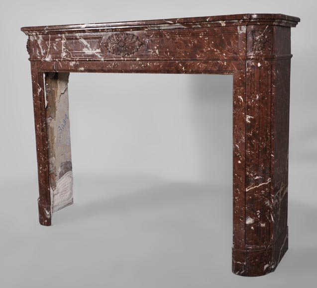 Antique Louis XVI style fireplace with rounded corners in Red Griotte marble from Belgium-5