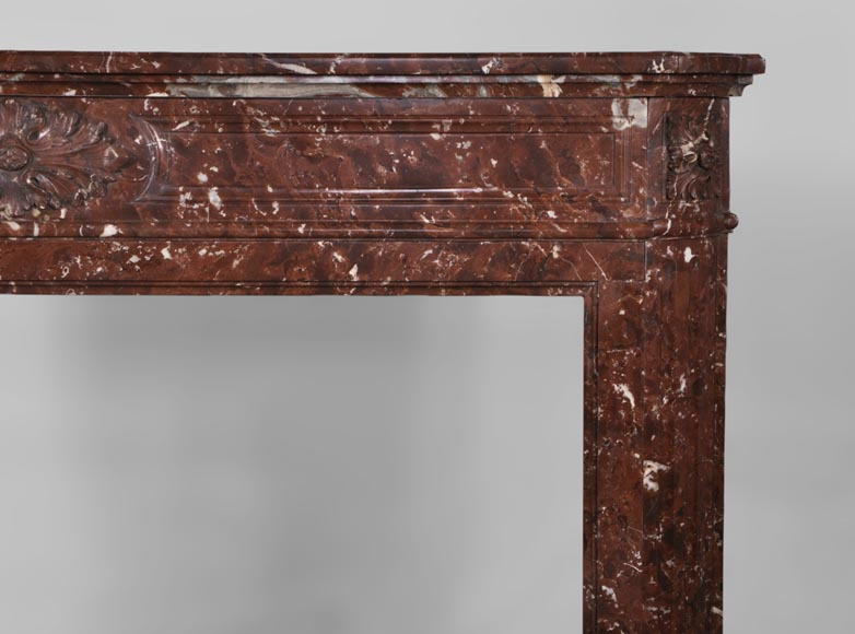 Antique Louis XVI style fireplace with rounded corners in Red Griotte marble from Belgium-6