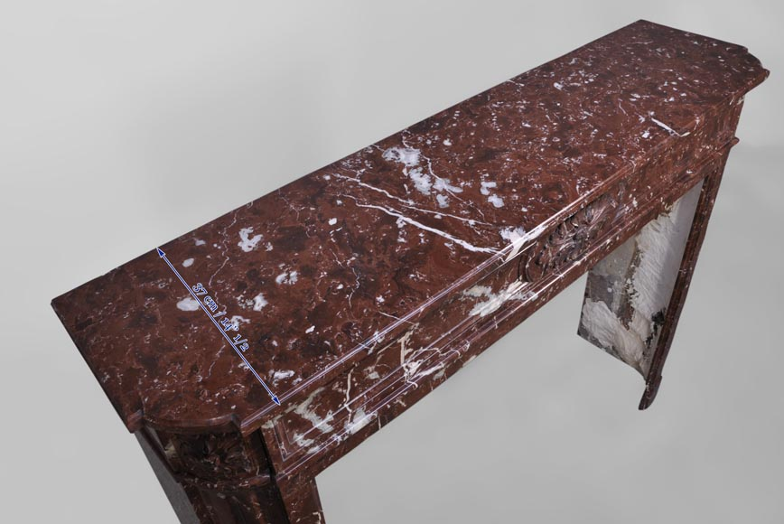 Antique Louis XVI style fireplace with rounded corners in Red Griotte marble from Belgium-9
