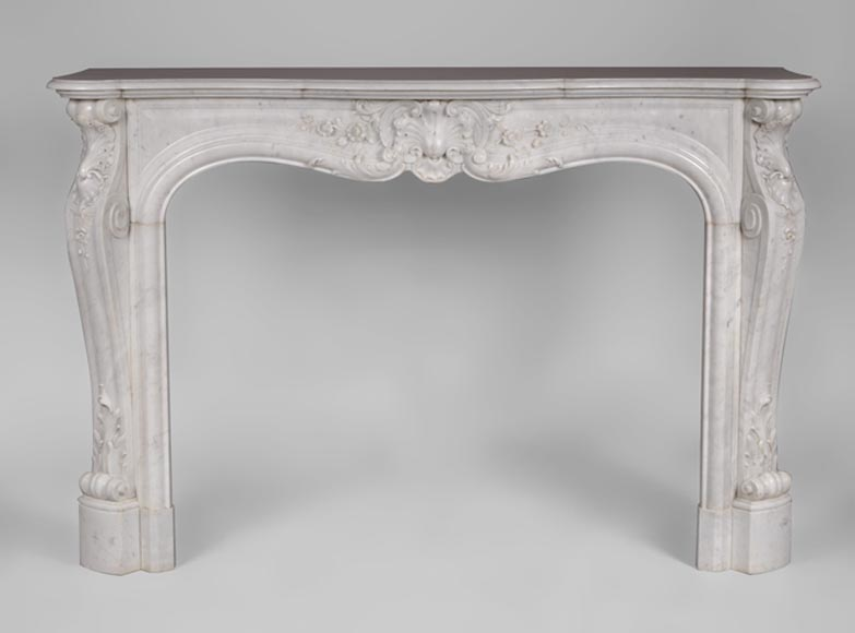 Beautiful antique Louis XV style fireplace in white Carrara marble with flowers decor - Reference 3107
