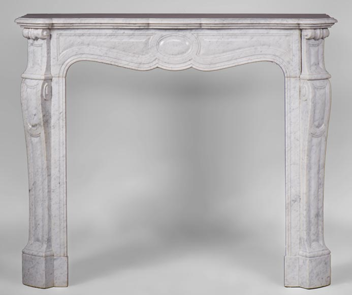 Antique Pompadour style fireplace with curved lines in Carrara marble-0