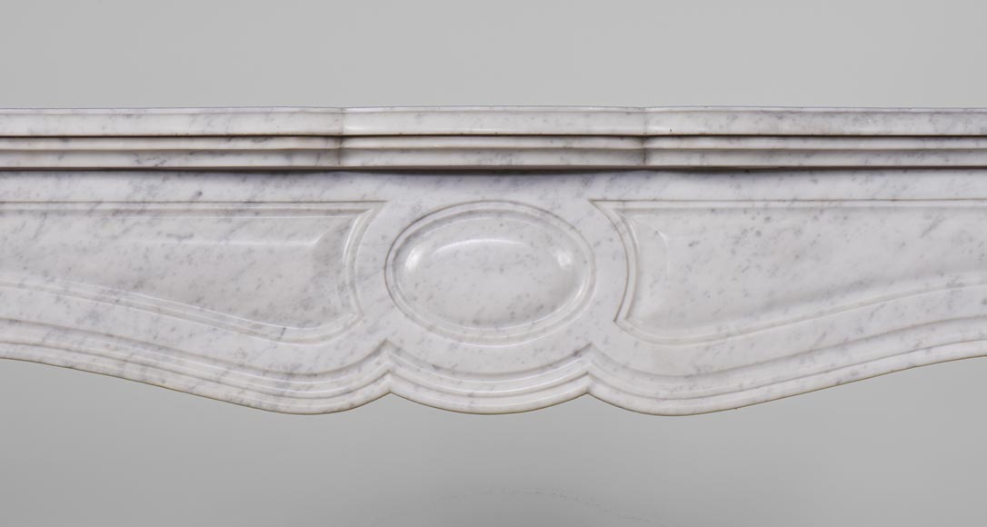 Antique Pompadour style fireplace with curved lines in Carrara marble-1
