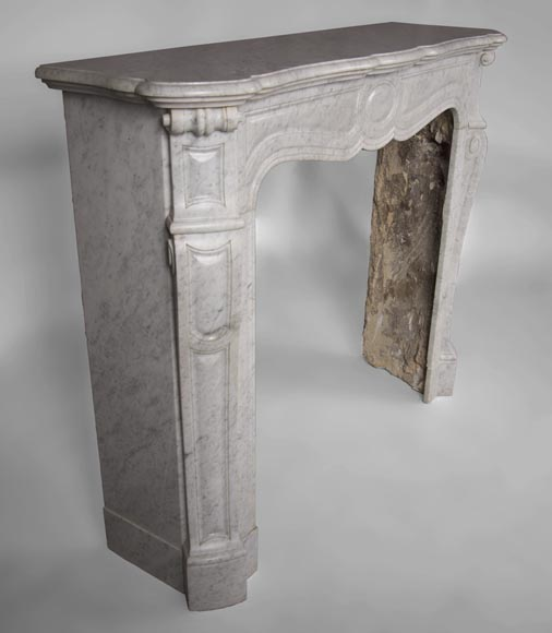 Antique Pompadour style fireplace with curved lines in Carrara marble-2