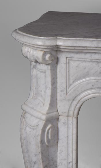 Antique Pompadour style fireplace with curved lines in Carrara marble-3
