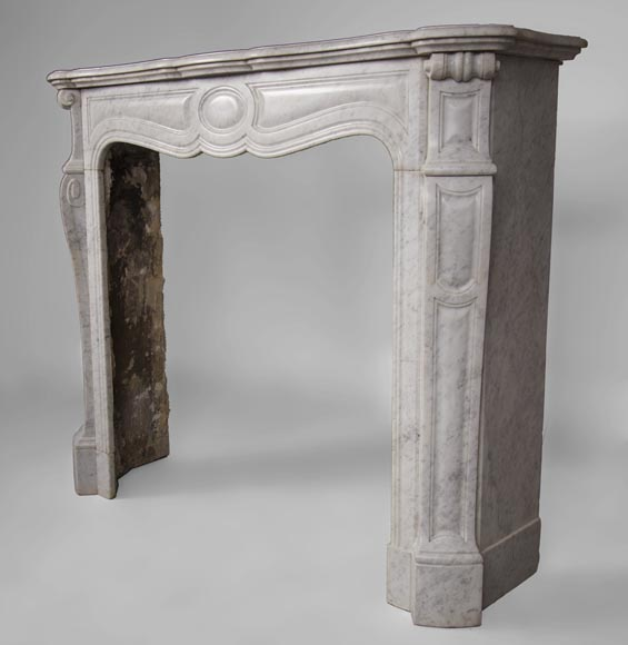 Antique Pompadour style fireplace with curved lines in Carrara marble-5
