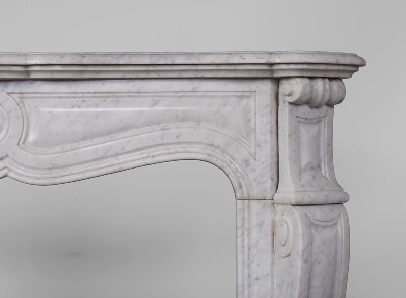 Antique Pompadour style fireplace with curved lines in Carrara marble-6