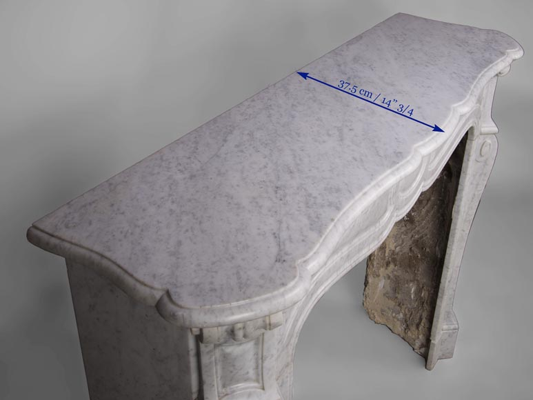 Antique Pompadour style fireplace with curved lines in Carrara marble-8