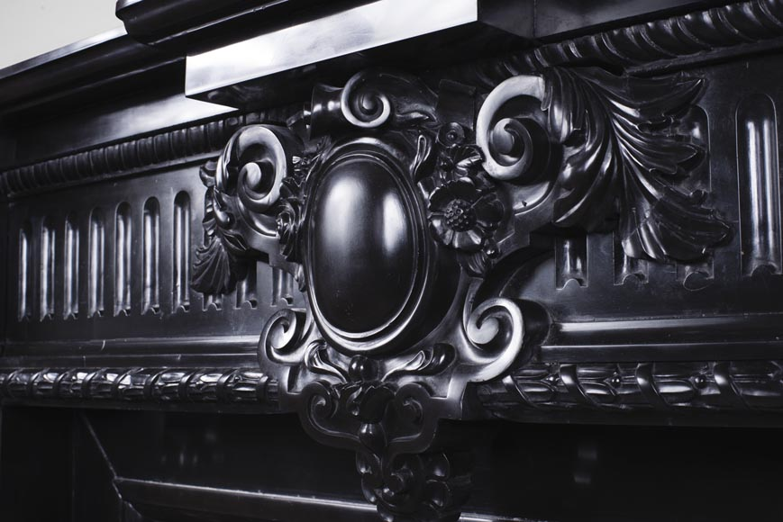 Rare Napoleon III style antique fireplace in Belgium Black marble, richly decorated-2