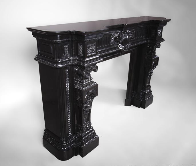 Rare Napoleon III style antique fireplace in Belgium Black marble, richly decorated-5