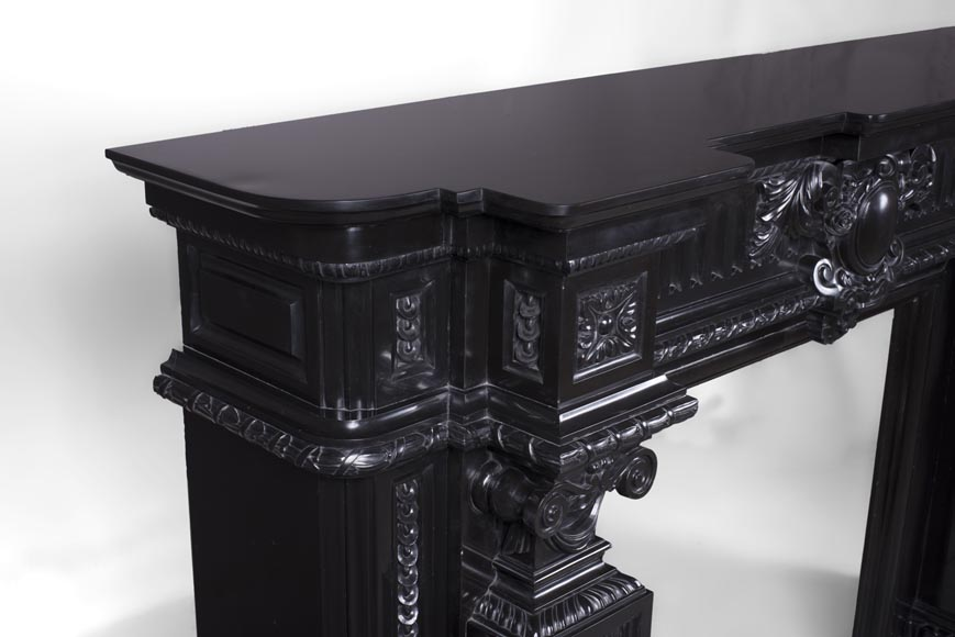 Rare Napoleon III style antique fireplace in Belgium Black marble, richly decorated-6