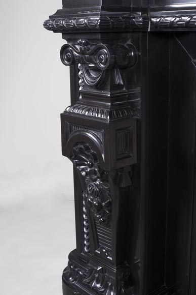 Rare Napoleon III style antique fireplace in Belgium Black marble, richly decorated-7