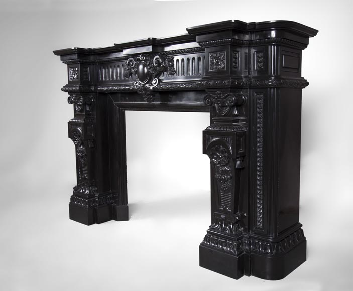 Rare Napoleon III style antique fireplace in Belgium Black marble, richly decorated-8