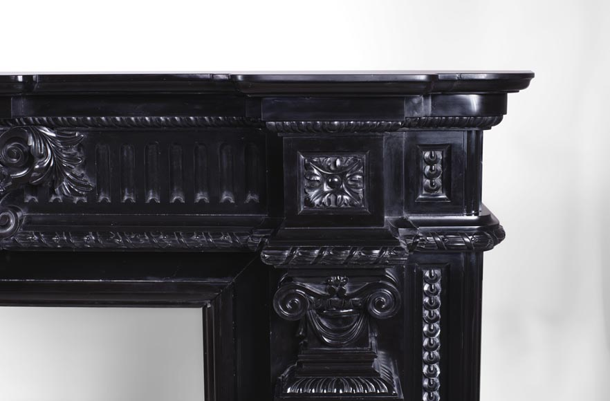 Rare Napoleon III style antique fireplace in Belgium Black marble, richly decorated-9