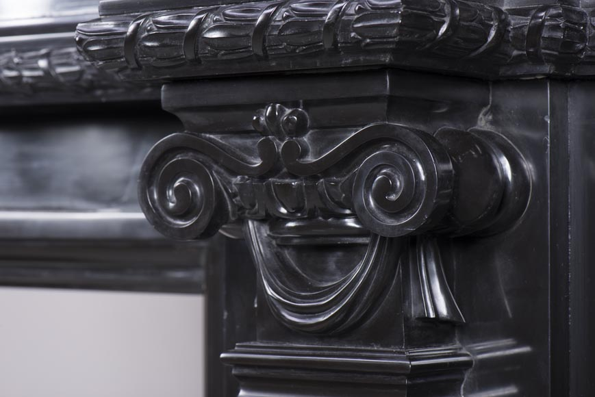 Rare Napoleon III style antique fireplace in Belgium Black marble, richly decorated-10