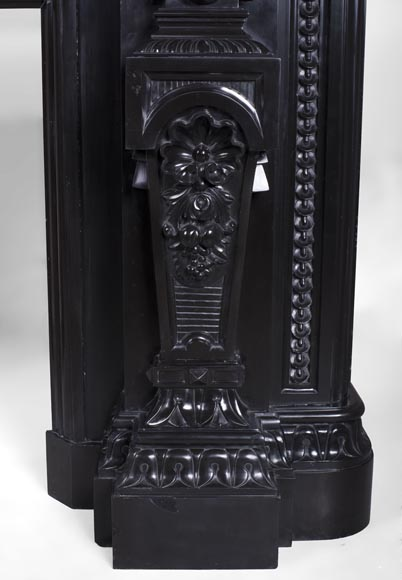 Rare Napoleon III style antique fireplace in Belgium Black marble, richly decorated-11