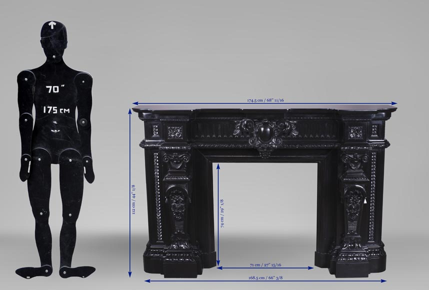 Rare Napoleon III style antique fireplace in Belgium Black marble, richly decorated-13