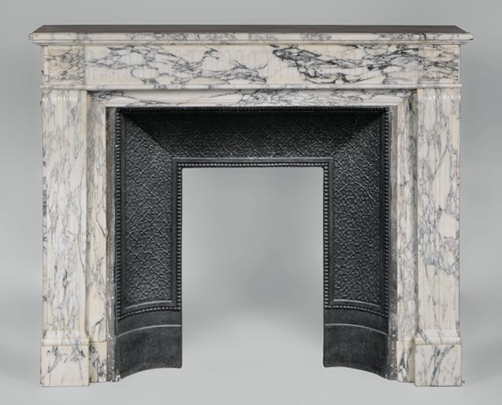 Antique Louis XVI style fireplace in Arabescato marble with flutings - Reference 3120