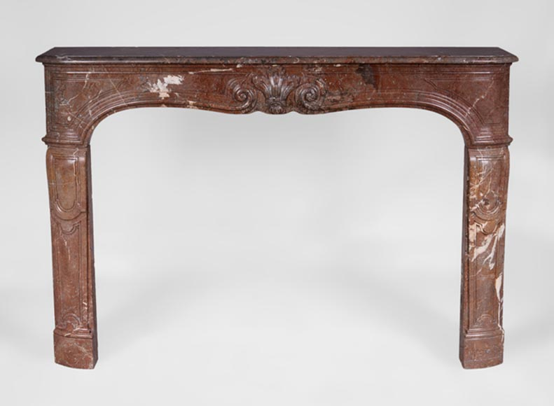 Antique Louis XV period fireplace in Red from the North marble - Reference 3125