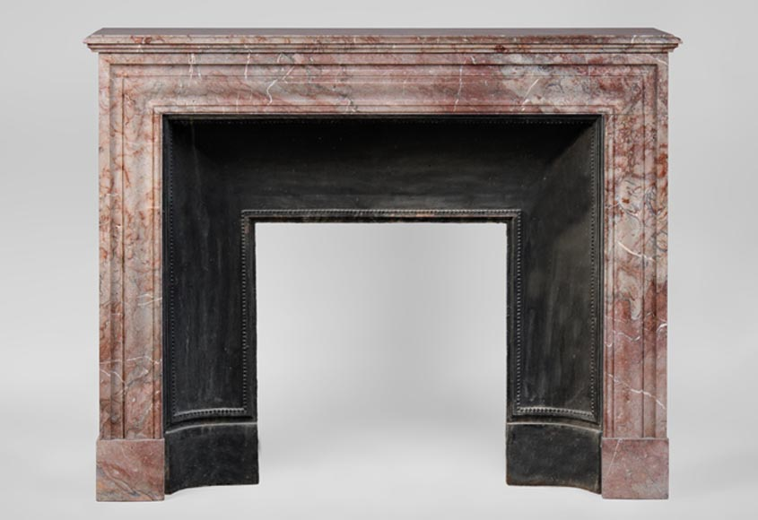 Antique Louis XIV style fireplace in Rose Enjugerais marble with its cast iron insert - Reference 3129
