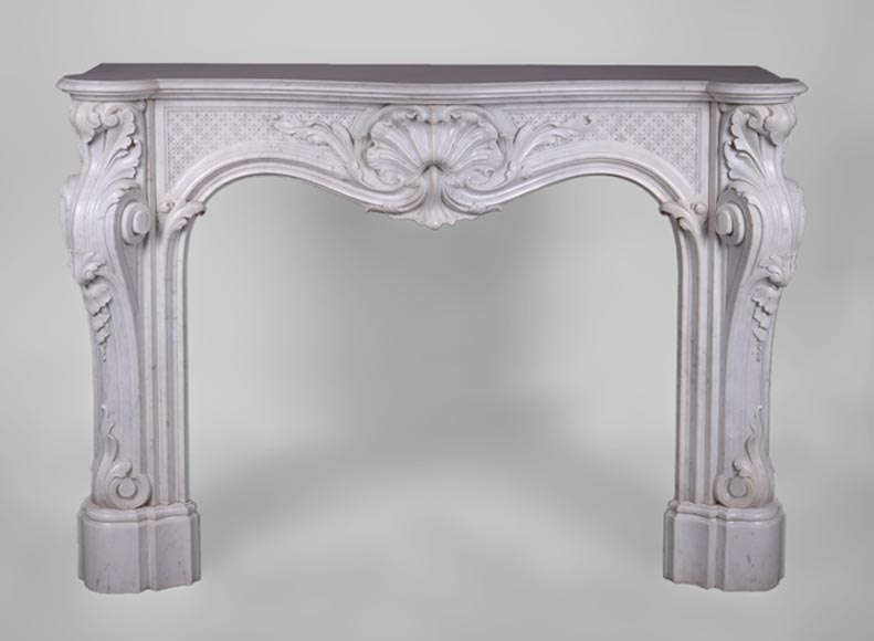 Beautiful antique Louis XV style fireplace with opulent decor in white Carrara marble-0