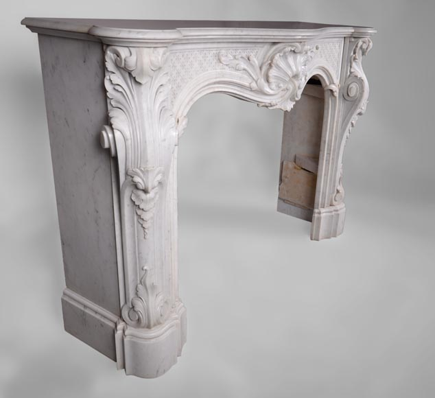 Beautiful antique Louis XV style fireplace with opulent decor in white Carrara marble-2