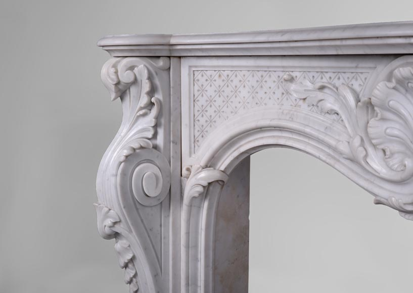 Beautiful antique Louis XV style fireplace with opulent decor in white Carrara marble-3