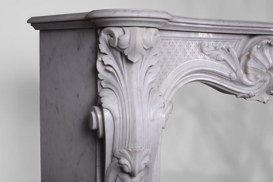 Beautiful antique Louis XV style fireplace with opulent decor in white Carrara marble-4