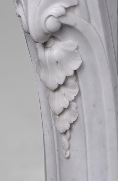 Beautiful antique Louis XV style fireplace with opulent decor in white Carrara marble-5