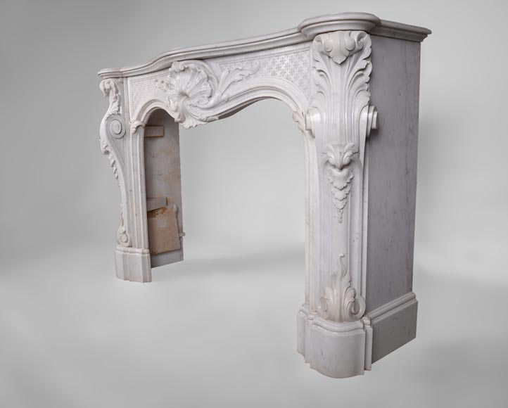 Beautiful antique Louis XV style fireplace with opulent decor in white Carrara marble-7